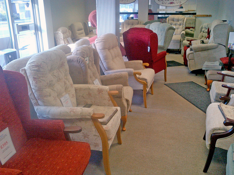 Suite Deal Showroom for riser recliners, lift & rise recliners, high seat chairs & adjustable beds. Celebrity Sherborne 